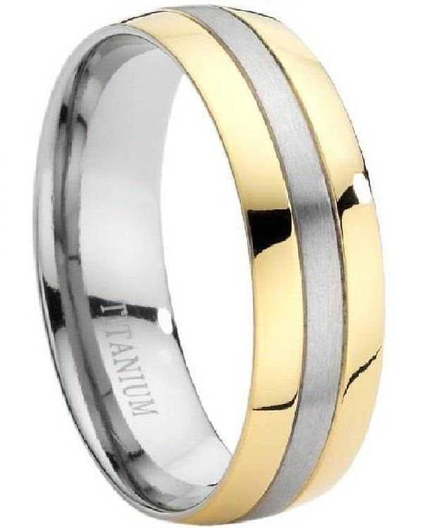 Comfort Fit Titanium Wedding Ring With Two Toned And Polished Finish 8 Mm