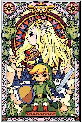 65 color Wind Waker stained glass cross stitch pattern. Finished size using 22 count Aida = approximately 13x19.4 inches.