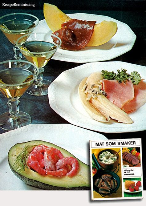 "Three Cold Entrées / Tre Kalde Forretter - Recipes from ""Mat Som Smaker"" (Tasty Food) published by Schribsted in 1968 http://recipereminiscing.wordpress.com/"