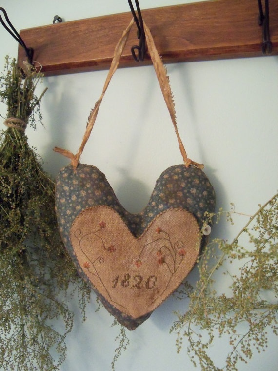 Primitive Cross Stitch Hanging Heart Pinkeep by SimpleThymePrims, $33.00