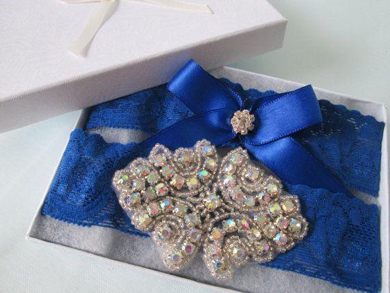 Royal Blue Wedding Garter Set Royal Blue Prom by GibsonGirlGarters