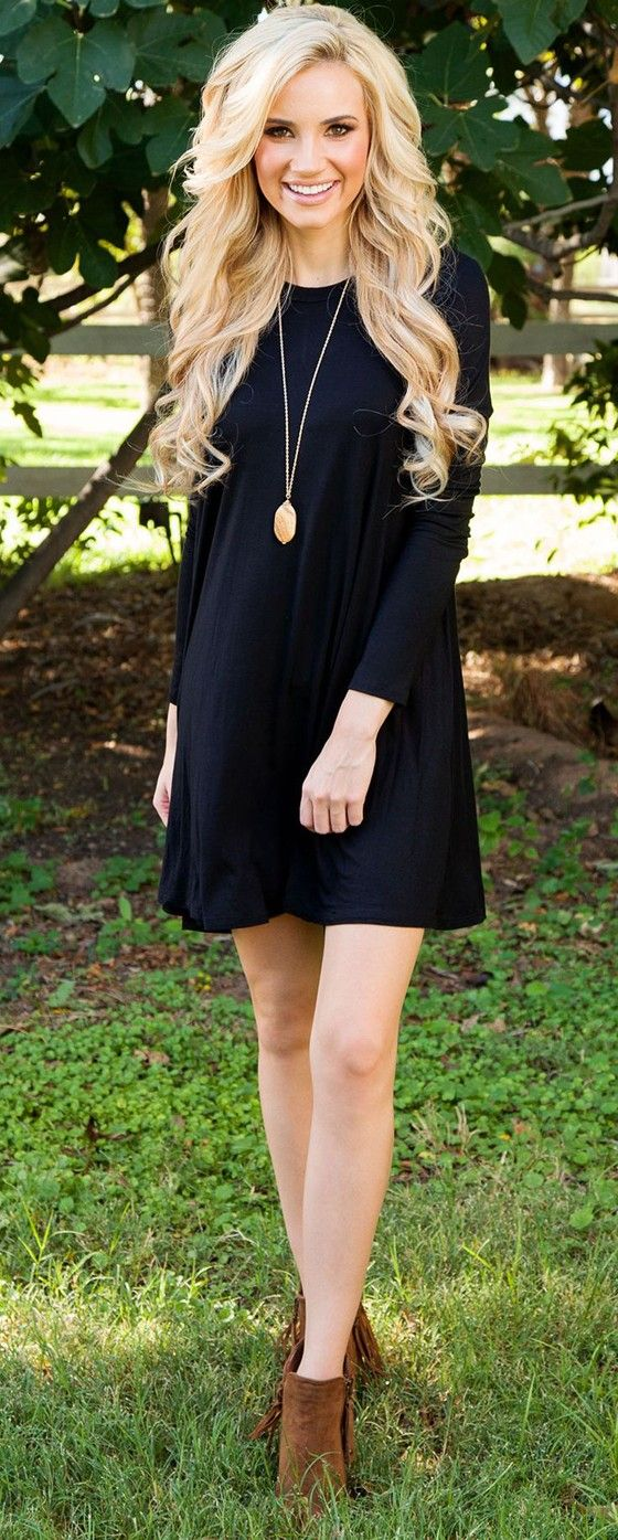 Black Plain Long Sleeve Casual Cotton Mini Dress