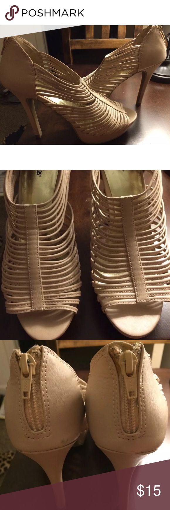 "Apt.9 Open Toe Stiletto Heels- Blush -size 7.5 Women's Apt. 9 platform/stiletto heels. Size 7.5. Light pink/nude/blush color. Peep toe with open weave. Zip up back. Rubber soles.  No original box.  Heel height is 5"" including platform. Apt. 9 Shoes Heels"
