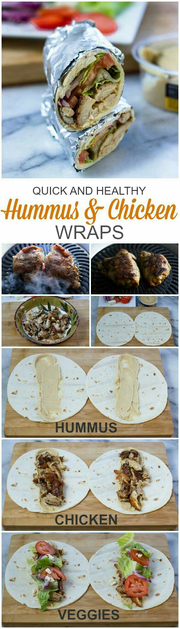 Hummus + Chicken Wraps.