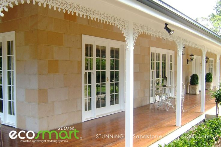 CLASSY Colonial architectural character with walls of Real SANDSTONE Lightweight Veneer from ECO Smart Stone. Love Stone