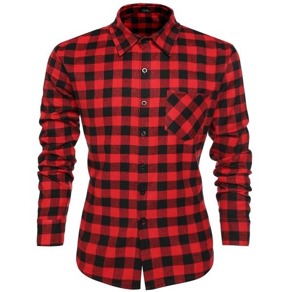 Coofandy Men's Casual Plaid Long Sleeve Shirt Slim Fit T-shirts ($18) ❤ liked on Polyvore featuring mens, men's clothing, men's shirts and men's t-shirts