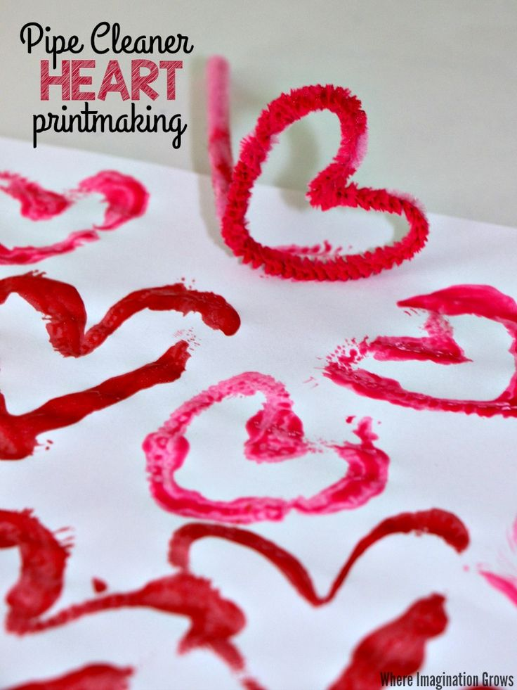 Valentineu0027s Day Printmaking Craft With Pipe Cleaners