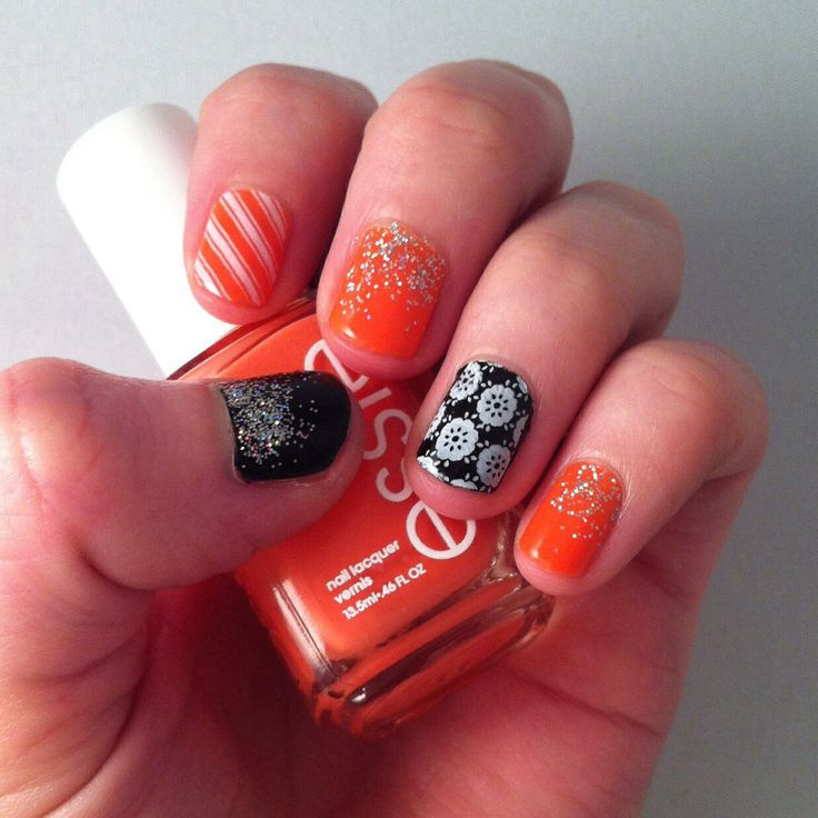 A little bit of everything. Orange and black, glitter, stripes and flowers.
