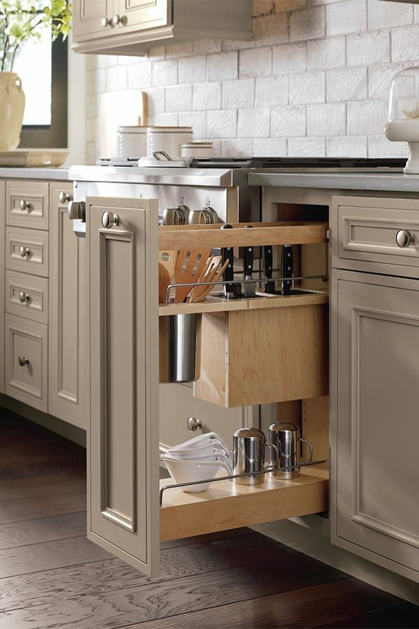 Use our Base Utensil Pantry Pull Out Cabinet with Knife Block to cull a collection of utensils and odd sized knives.