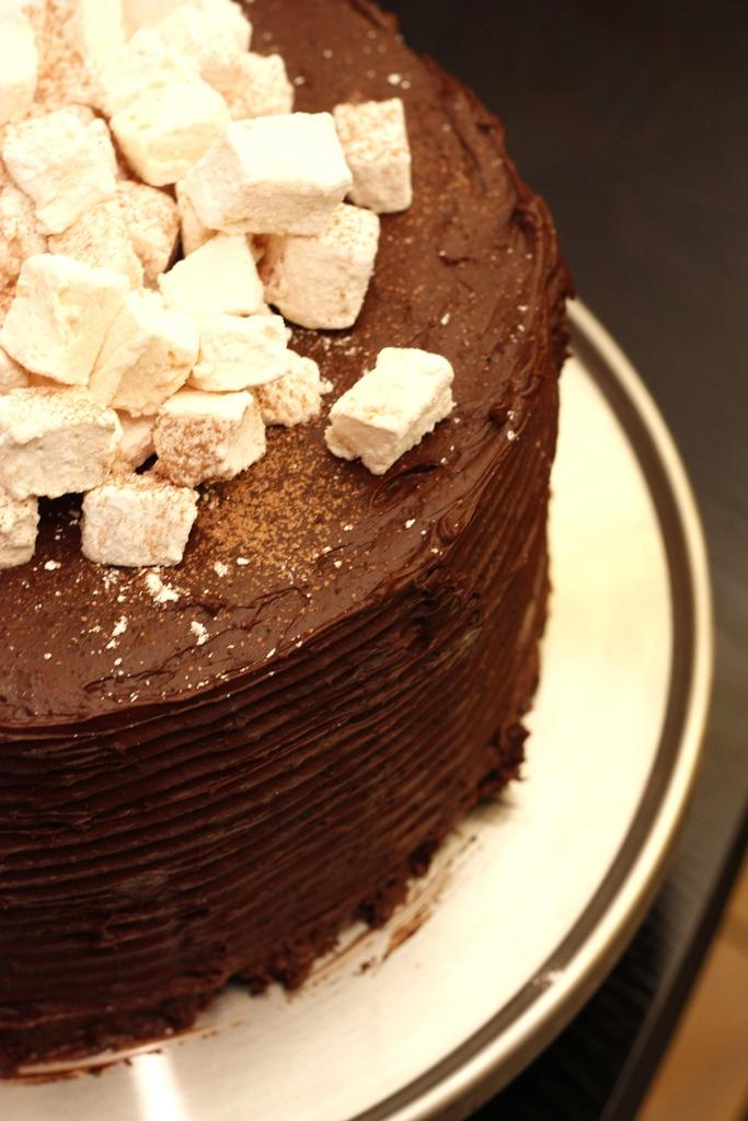 Hot Chocolate Birthday Cake with Homemade Marshmallows