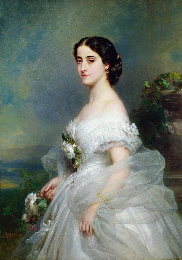 ▴ Artistic Accessories ▴ clothes, jewelry, hats in art - Franz Xaver Winterhalter | Portrait of Adelina Patti