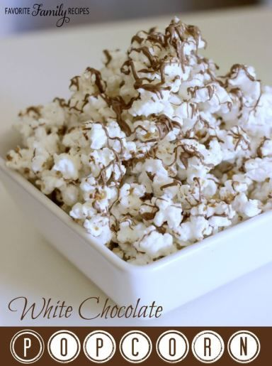 White Chocolate Popcorn - You don't have to spend a lot of money on expensive gourmet popcorn – you can make your own at home.  This White Chocolate Popcorn is every bit as good as something you would find in a gourmet popcorn shop.  It is so easy to make.  All you need is 3 ingredients and a microwave.  Does it get any easier than that?
