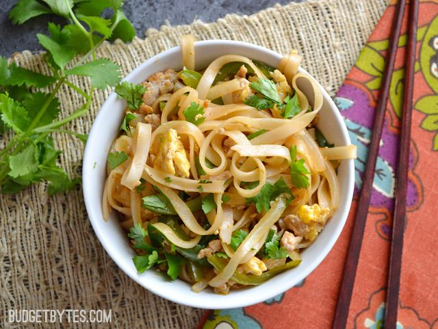 This simple ground pork pad thai has a splash of sriracha to give it a little kick. Customize with your own mix of vegetables and toppings.