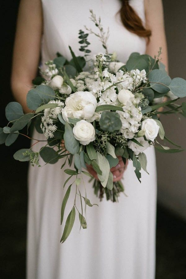 Matte green and ivory wedding bouquet
