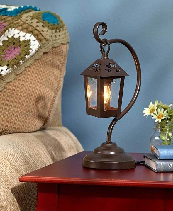 BRONZE LANTERN TABLE LAMP ACCENT LIGHT COUNTRY LIVING ROOM BEDROOM HOME DECOR #Unbranded