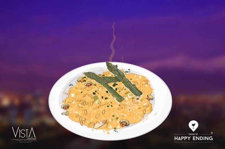 Brindamos sabores únicos y experiencias gastronómicas inigualables. Te invitamos a probar el sabor gourmet de nuestro país. Risotto de espárragos con setas, un plato incluido en las opciones de cena en Vista Santiago junto a una vista panorámica que te enamorará.  Happy Ending Tours