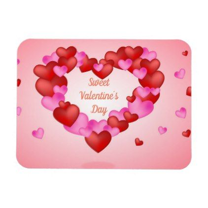 Sweet Pink and Purple Heart Valentine´s day Magnet
