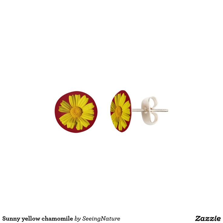 Sunny yellow chamomile earrings