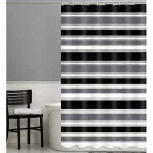 Maytex Sonata 13-Piece PEVA Shower Curtain Set   Black white grey bathroom