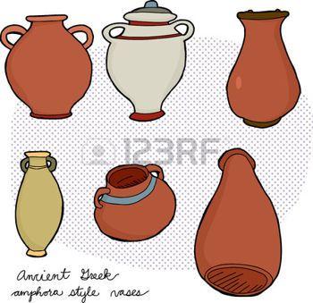 Állítsa be a különböző amfora vázák ókori görög történelem photo