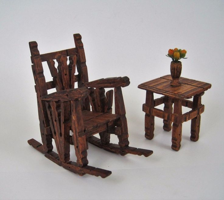Vtg Dollhouse Rocking Chair and Table Wood Clothes Pin 1970s Plastic Flower Vase #Unbranded