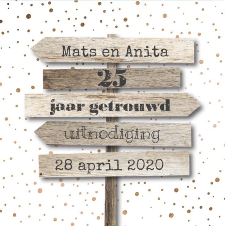 lovz | uitnodiging 25 jaar getrouwd koper confetti en houten pijlen