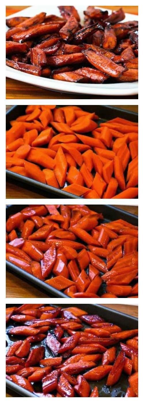 Easy Roasted Carrots with Agave-Balsamic Glaze are a healthy treat, and this recipe is  #GlutenFree and #KidFriendly. [from KalynsKitchen.com