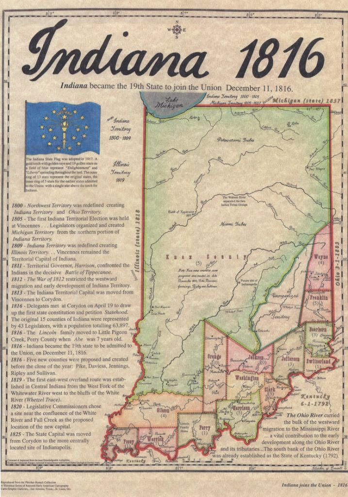 December 11, 1816 - The territory of Indiana is admitted into the United States of America as the 19th state.
