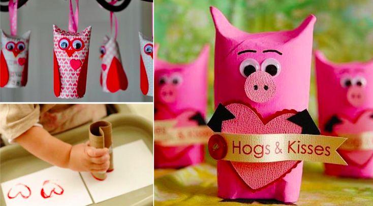 10 bricolages d 39 enfants pour la saint valentin faire - Idee bricolage avec rouleau de papier toilette ...