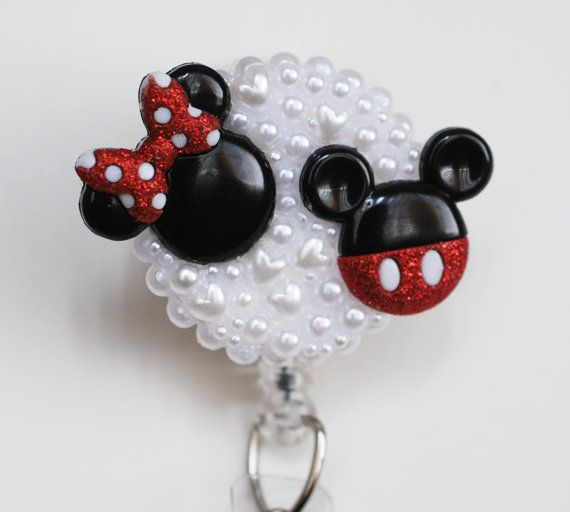 Minnie And MIckey Mouse Silhouettes ID Badge Reel - Retractable ID Badge Holder - Zipperedheart
