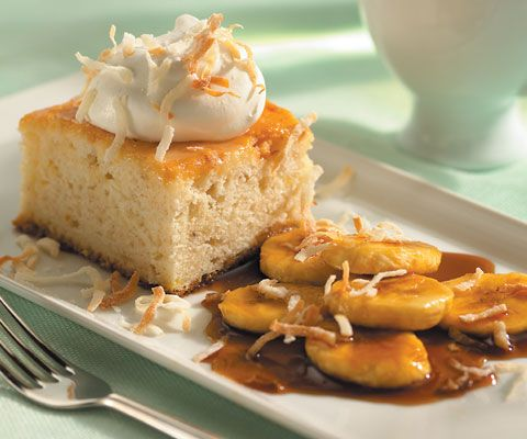 Fat-free, sweetened condensed milk & puréed bananas lighten up this coconut tres leches cake with caramelized bananas. Recipe by Terry Conlan; photo by Chris Cassidy.