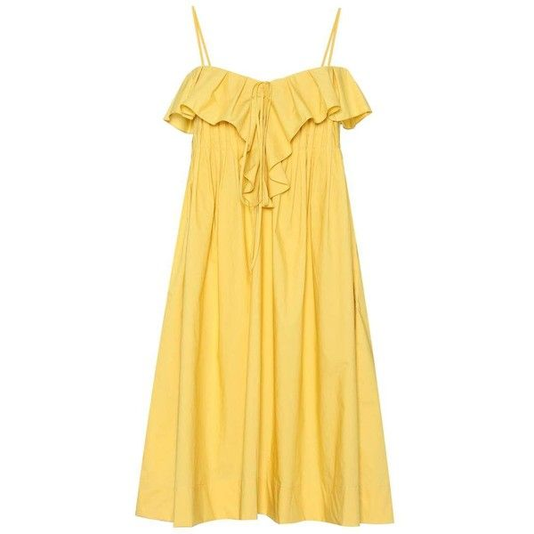 Three Graces London Sleeveless Cotton Dress (2 220 SEK) ❤ liked on Polyvore featuring dresses, yellow, sleeveless cotton dress, beige dress, yellow sleeveless dress, no sleeve dress and yellow dress