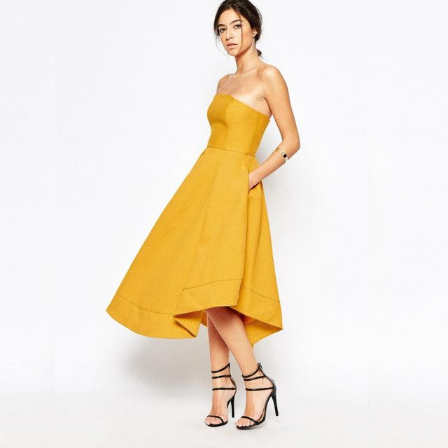 Yellow Off Shoulder Formal Dress Women Clothing Backless Assymetric Bandeau Dress Sexy Summer Female Vestido