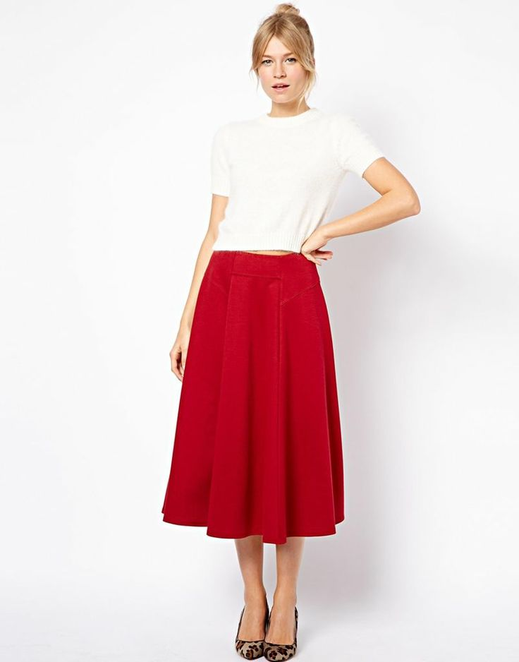 Dark Red Midi Skirt | Jill Dress