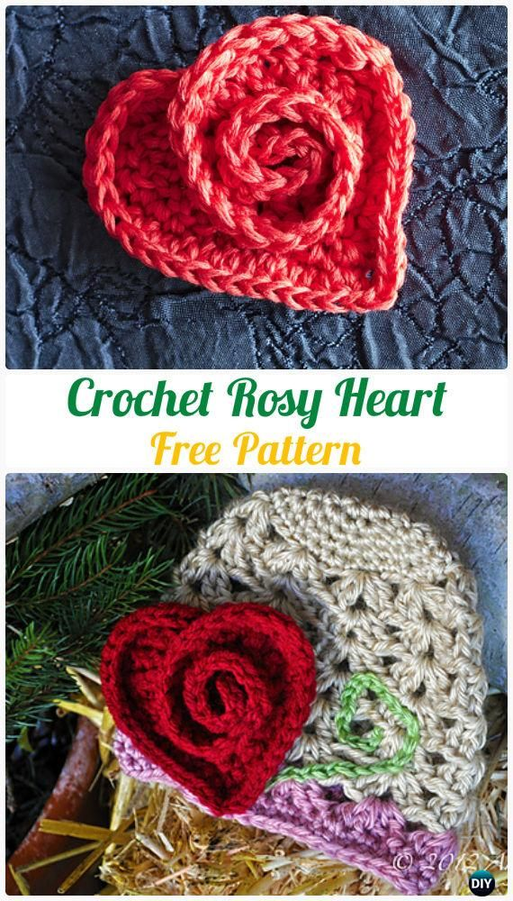 Crochet Swirly Rosy Heart Free Pattern  - #Crochet Heart Applique Free Patterns