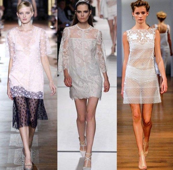 Paris Fashion Week  Spring 2014: White Lace - From left: Stella McCartney, Elie Saab, Collette Dinnigan Accessories Magazine