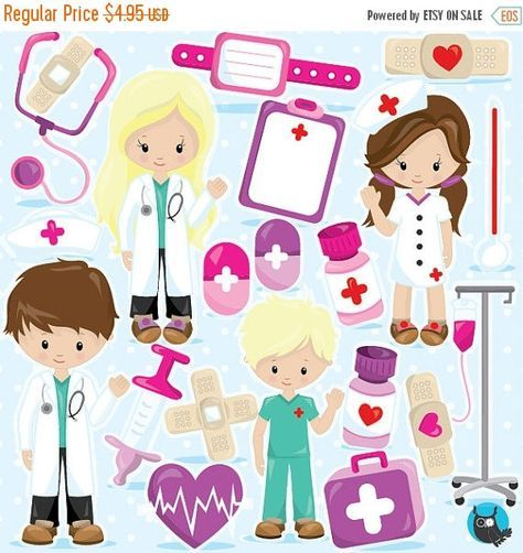 80% OFF SALE Doctor clipart commercial use, Hospital clipart vector graphics, kids hospital digital clip art, digital images - CL966