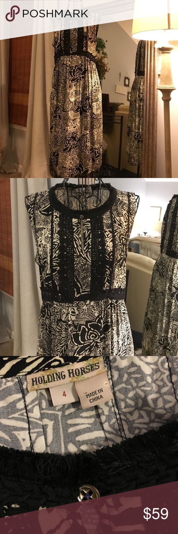 """Anthropologie holding horses dress Anthropology dress by holding horses. Size 4. Beautiful detailing on the empire styled top. 17 inch bust high low hem 40"""" in front shoulder to hem Anthropologie Dresses Midi"""