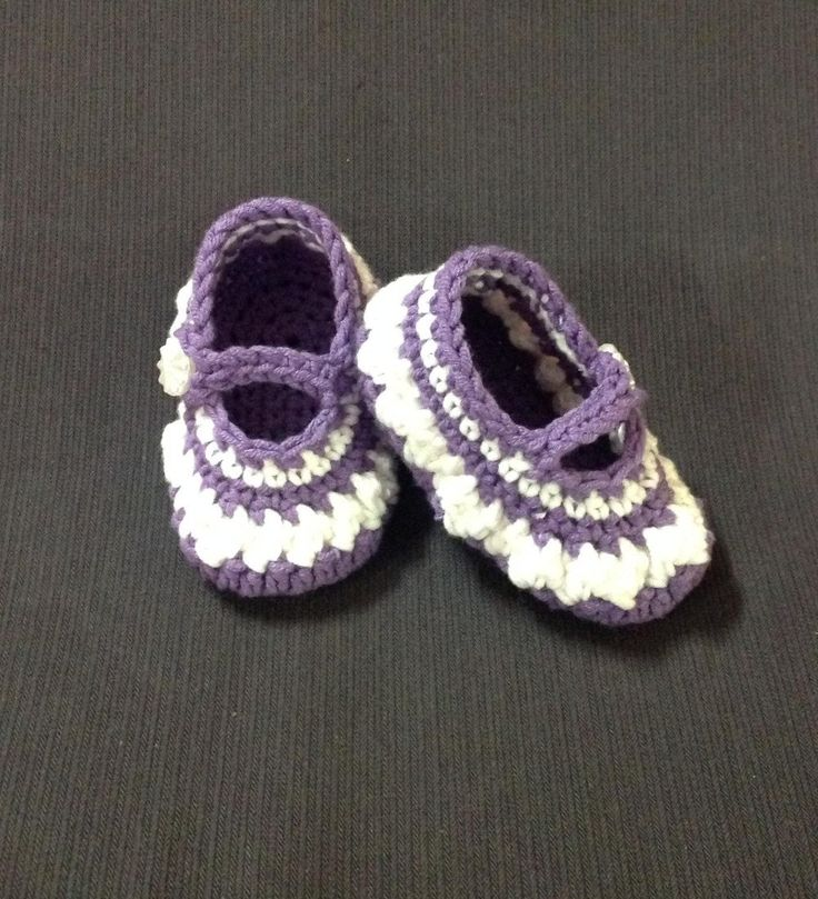 Crocheted Mary Jane baby shoes  purple and white in colour. by shezware on Etsy