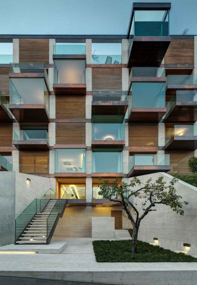 glass + wood slates + steel + clean stairs + slats + in and out play of massing + that one tree; ~via contemporist Lomocubes by MPA Architetti