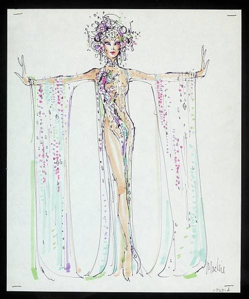 costume sketch by Bob Mackie Colored felt markers