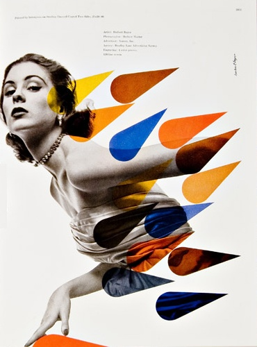 Bradbury Thompson poster. Colorful transparent shapes contrasted with duotone picture.