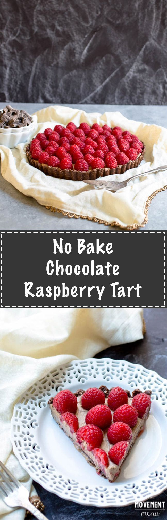 This no bake creamy chocolate raspberry tart is insanely delicious. Full of rich and decadent chocolate filling and topped off with fresh raspberries! TheMovementMenu.com