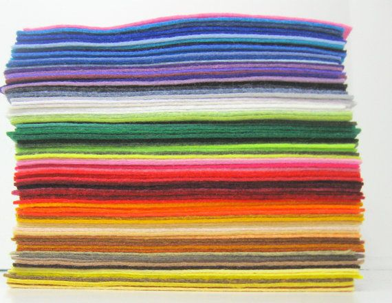Wool Felt 50 sheets- 9x12 inch Choose from 100 Colors