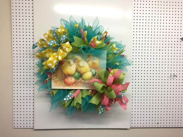"""Here's a brief summary of our Facebook Live video from 2/14/17. Supply List XX750441 24"""" Turquoise Pencil Wreath RE1302ME 10"""" Easter Egg Blue Deco P"""
