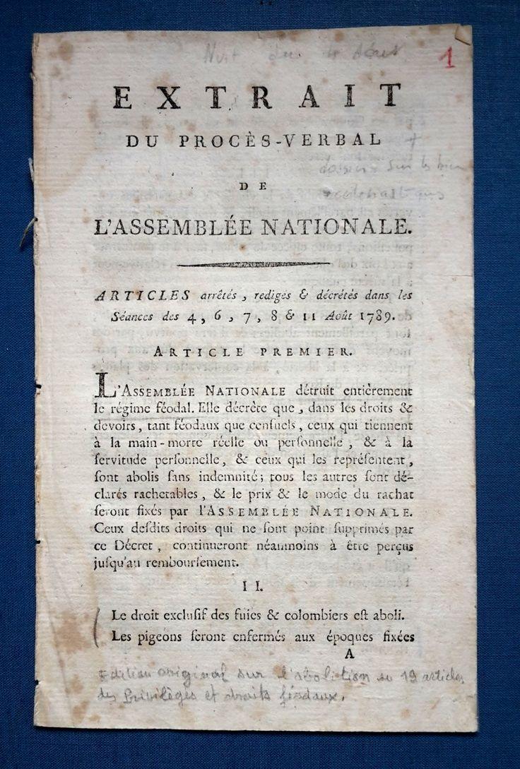 Nuit du 4 août 1789 : Procès verbal sur l'abolition en 19 articles des privilèges et droits féodaux.