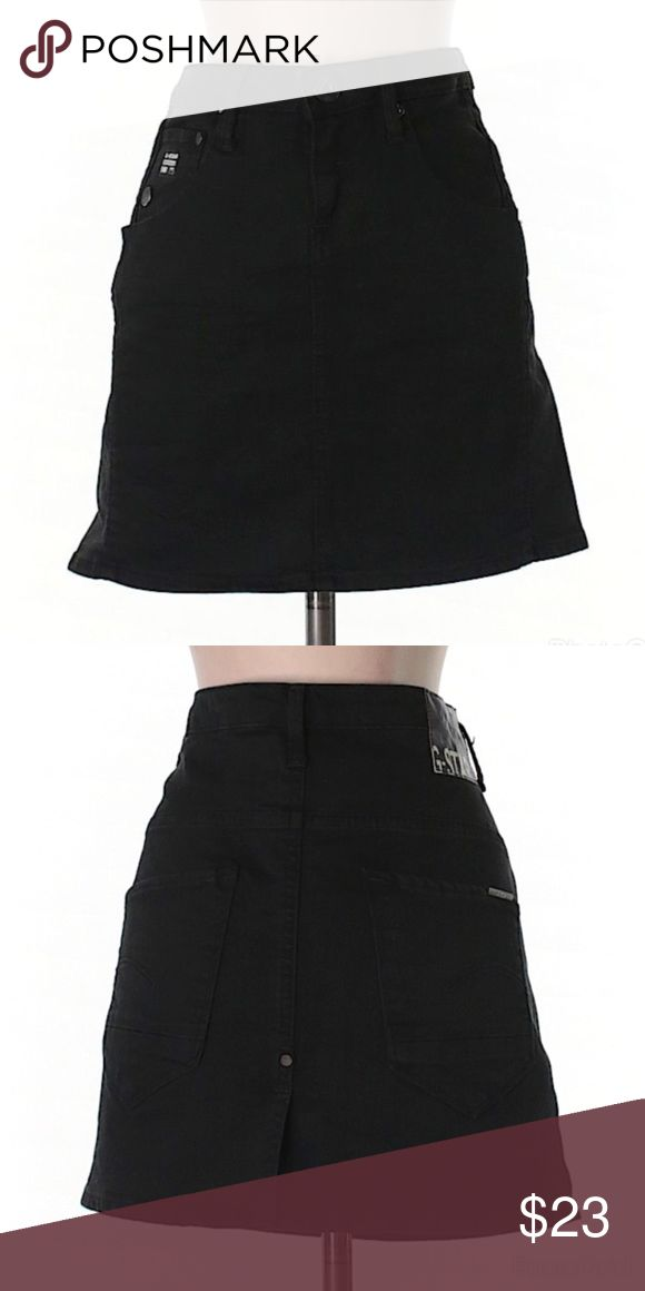 """G-Star Raw Skirt G-Star Raw A-Line Skirt. Black Denim. 27"""" Waist. 15"""" Length. 98% Cotton 2% Spandex. Gently Used, Good Condition! Size 27 (Small) G Star Raw Skirts A-Line or Full"""