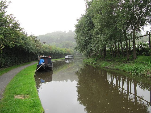 'Round the Bend' - Misty Morning, Peak Forest Canal, New Mills, Peak District   Flickr - Photo Sharing! Thats my boat!