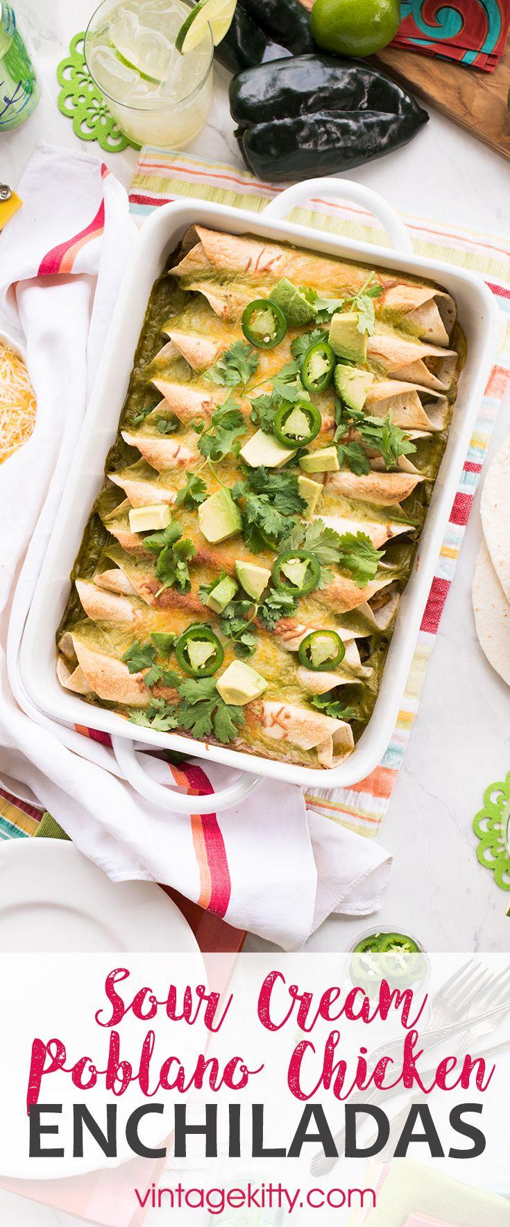 Poblano Sour Cream Chicken Enchiladas Recipe Sour Cream Chicken Recipes Budget Dinner Recipes