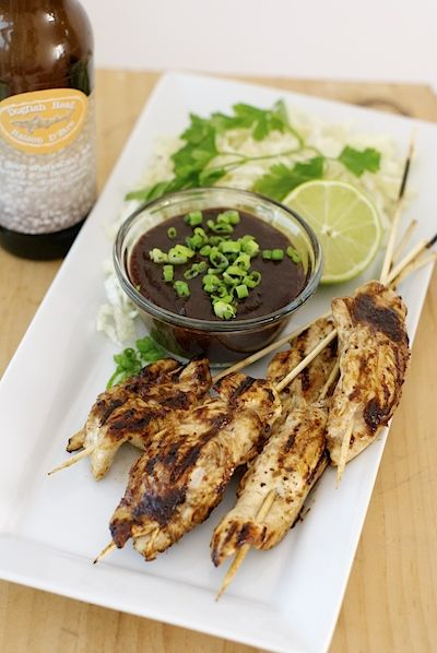 Dogfish Head Belgian Strong Ale Asian Plum Chicken Skewers